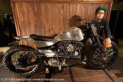 Sato Marine Cycle's Yusaku Sato with his custom 1968 Harley-Davidson Shovelhead at the 27th Annual Mooneyes Yokohama Hot Rod Custom Show 2018. Yokohama, Japan. Sunday, December 2, 2018. Photography ©2018 Michael Lichter.