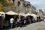 Market stalls along eastern wall, near Eastern (Silver) Gate, Diocletian Palace, Split, Croatia