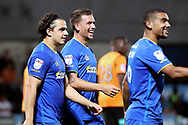 AFC Wimbledon striker Cody McDonald (10) celebrating after scoring goal to make it 2-3 during the EFL Trophy match between Barnet and AFC Wimbledon at Underhill Stadium, London, England on 29 August 2017. Photo by Matthew Redman.