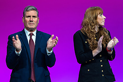 © Licensed to London News Pictures. 25/09/2021. Brighton, UK. Leader and Deputy Labour Leaders SIR KEIR STARMER and ANGELA RAYNER at the conference . The first day of the 2021 Labour Party Conference , which is taking place at the Brighton Centre . Photo credit: Joel Goodman/LNP