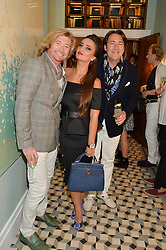 Left to right, NICKY CLARKE, ALINA BLINOVA and JONATHAN ROSS at the Grand opening of Library - a new members club at 112 St Martin's Lane, London on 25th June 2014.