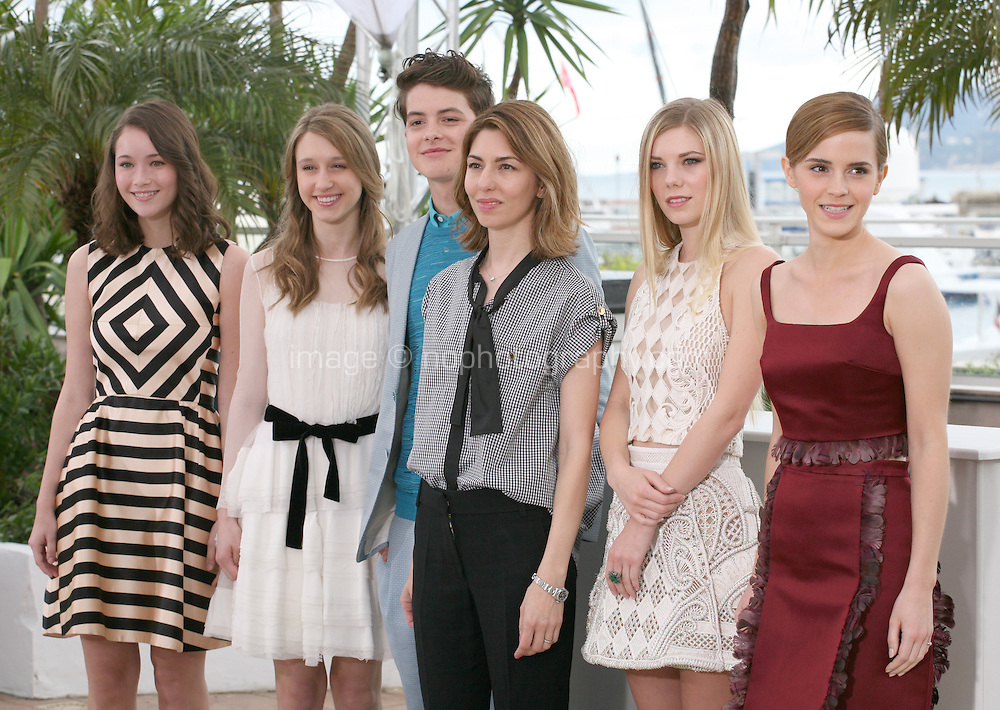 Katie Chang, Georgia Rock, Israel Broussard, Sofia Coppola, Claire Julien, Emma Watson,. at the Bling Ring film photocall at the Cannes Film Festival 16th May 2013. The Bling Ring is directed by Sofia Coppola and in Un Certain Regard category of the festival.