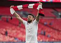 Football - 2017 FA Cup Final - Arsenal vs. Chelsea<br /> <br /> Olivier Giroud of Arsenal with his bible quotation on his t shirt celebrates at Wembley.<br /> <br /> COLORSPORT/DANIEL BEARHAM