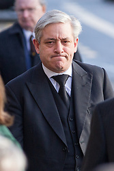 © Licensed to London News Pictures . 16/01/2014 . Salford , UK . JOHN BERCOW MP , the Speaker of the House of Commons and Conservative MP for Buckingham , arrives for the funeral . The funeral of Labour MP Paul Goggins at Salford Cathedral today (Thursday 16th January 2014) . The MP for Wythenshawe and Sale East died aged 60 on 7th January 2014 after collapsing whilst out running on 30th December 2013 . Photo credit : Joel Goodman/LNP