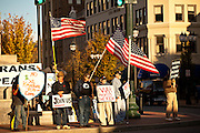 Anti-war protesters gather in Pack Square in Asheville, NC.