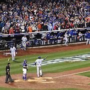 Eric Hosmer, Kansas City Royals, hits a double off pitcher Matt Harvey, New York Mets, scoring Lorenzo Cain in the ninth inning during the New York Mets Vs Kansas City Royals, Game 5 of the MLB World Series at Citi Field, Queens, New York. USA. 1st November 2015. Photo Tim Clayton