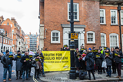 London, UK. 2nd February, 2019. Campaigners from Amnesty International UK and the University and College Union (UCU) and the family and friends of Cambridge University PhD student Giulio Regeni hold a vigil outside the Egyptian embassy to mark three years since his mutilated body was discovered in a ditch outside Cairo. A letter was also delivered to the embassy calling for an independent investigation into the disappearance, torture and death of the 28-year-old student.