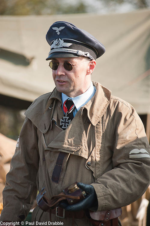 A reenactor portrays a member of German Luftwaffe aircrew during the Pickering 1940s Wartime Weekend. <br /> October 2011<br /> Image © Paul David Drabble