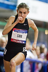 Millrose Games indoor track and field: women's mile, start, Mary Cain, 16 years old, sets High School American record 4:28
