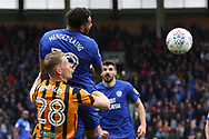 Cardiff City midfielder Nathaniel Mendez Laing (19) and Hull City defender Scott Kingsley (28) battles for possession during the EFL Sky Bet Championship match between Hull City and Cardiff City at the KCOM Stadium, Kingston upon Hull, England on 28 April 2018. Picture by Mick Atkins.