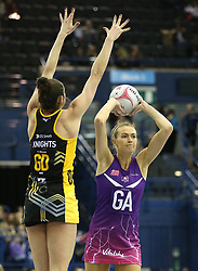 Wasps Netball's Hannah Knights (left) and Loughborough Lightning's Ella Clark battle for the ball during the Vitality Netball Superleague Super Ten match held at Arena Birmingham.