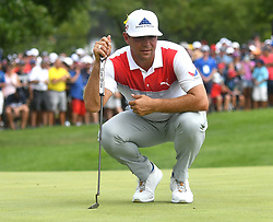 August 12, 2018 - St. Louis, Missouri, U.S. - ST. LOUIS, MO - AUGUST 12: Gary Woodland lines up a putt on the #1 green during the final round of the PGA Championship on August 12, 2018, at Bellerive Country Club, St. Louis, MO.  (Photo by Keith Gillett/Icon Sportswire) (Credit Image: © Keith Gillett/Icon SMI via ZUMA Press)