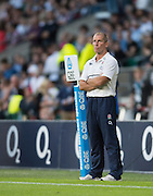 Twickenham, England.  England Head Coach, Stuart LANCASTER, with his eyes on the big screen as his team is introduced to the crowd, at the QBE International. England vs France [World cup warm up match. Saturday.  15.08.2015.  [Mandatory Credit. Peter SPURRIER/Intersport Images].