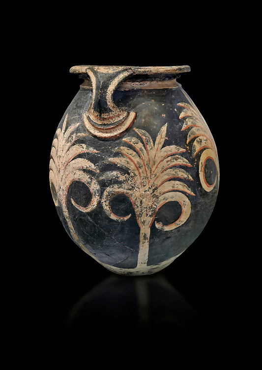 Minoan clay vase with floral design, Speial Palatial Tradition , Knossos Palace 1500-1450 BC BC, Heraklion Archaeological  Museum, black background. .<br /> <br /> If you prefer to buy from our ALAMY PHOTO LIBRARY  Collection visit : https://www.alamy.com/portfolio/paul-williams-funkystock/minoan-art-artefacts.html . Type -   Heraklion   - into the LOWER SEARCH WITHIN GALLERY box. Refine search by adding background colour, place, museum etc<br /> <br /> Visit our MINOAN ART PHOTO COLLECTIONS for more photos to download  as wall art prints https://funkystock.photoshelter.com/gallery-collection/Ancient-Minoans-Art-Artefacts-Antiquities-Historic-Places-Pictures-Images-of/C0000ricT2SU_M9w