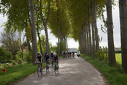 Marianne Vos (NED) of WM3 Pro Cycling Team keeps the chasing group in check near the end of the Omloop van Borsele - a 107.1 km road race, starting and finishing in s'-Heerenhoek on April 22, 2017, in Borsele, the Netherlands.