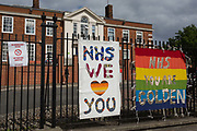 The day after UK Prime Minister Boris Johnson addressed the nation with his roadmap for the coming weeks and months during the Coronavirus pandemic lockdown, banners supporting and thanking NHS National Health Service key workers, have appeared outside the Maudsley Hospital that specialises in mental health services and is opposite Kings College Hospital one of the capitals major trauma centres and a site for Covid patients, on 11th May 2020, in London, England.