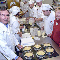 Alain Le Notre, left poses with his wife Marie at the Culinary Institute on Allensby, 01/05/06.  The Le Notre's are the winners of the North Harris College's small business of the year award.