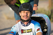 Damjan Zabovnik tijdens de zesde racedag. In Battle Mountain (Nevada) wordt ieder jaar de World Human Powered Speed Challenge gehouden. Tijdens deze wedstrijd wordt geprobeerd zo hard mogelijk te fietsen op pure menskracht. Ze halen snelheden tot 133 km/h. De deelnemers bestaan zowel uit teams van universiteiten als uit hobbyisten. Met de gestroomlijnde fietsen willen ze laten zien wat mogelijk is met menskracht. De speciale ligfietsen kunnen gezien worden als de Formule 1 van het fietsen. De kennis die wordt opgedaan wordt ook gebruikt om duurzaam vervoer verder te ontwikkelen.<br /> <br /> Damjan Zabovnik on the sixth racing day. In Battle Mountain (Nevada) each year the World Human Powered Speed ​​Challenge is held. During this race they try to ride on pure manpower as hard as possible. Speeds up to 133 km/h are reached. The participants consist of both teams from universities and from hobbyists. With the sleek bikes they want to show what is possible with human power. The special recumbent bicycles can be seen as the Formula 1 of the bicycle. The knowledge gained is also used to develop sustainable transport.