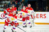 KAMLOOPS, CANADA - NOVEMBER 5: Veniamin Baranov #19 of Team Russia looks for the pass ahead of Daniil Tarasov #30 of Team Russia against the Team WHL on November 5, 2018 at Sandman Centre in Kamloops, British Columbia, Canada.  (Photo by Marissa Baecker/Shoot the Breeze)
