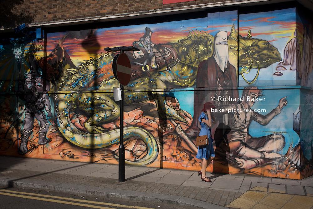 Elaborate wall art in Curtain Street, Shoreditch, East London.