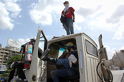 May 27, 2017 - Caracas, Capital District, Venezuela - A group of young opposition demonstrators are concentrated on the Francisco Fajardo highway and block the road with trucks this May 27, 2017. (Credit Image: © Adrian Manzol via ZUMA Wire)
