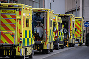 May0098421 . Daily Telegraph<br /> <br /> DT News<br /> <br /> An Ambulance arriving with a patient at the Royal London Hospital on the day that seven new 24hr Covid Vaccine centres open across the country . <br /> <br /> London 11 January 2021