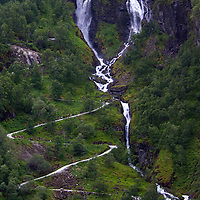 Europe, Norway, Flam. Myrdal Path and Waterfall.