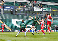 Sunderland Forward Ross Stewart (31) heads the ball and misses the target  during the EFL Sky Bet League 1 match between Plymouth Argyle and Sunderland at Home Park, Plymouth, England on 1 May 2021.