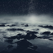 Dreamy seascape at night with stars and foamy water - manipulated photograph<br /> Redbubble Prints--> https://www.redbubble.com/shop/ap/56197326?asc=u