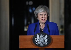 Prime Minister Theresa May speaking outside 10 Downing Street in London after MPs rejected LabourÕs motion of no confidence by 325 votes to 306.