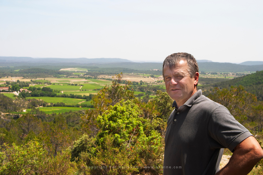 André Leenhardt Domaine Cazeneuve in Lauret. Pic St Loup. Languedoc. Garrigue undergrowth vegetation with bushes and herbs. Owner winemaker. France. Europe.
