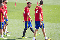 David Villa and Sergio Busquets during the training of the spanish national football team in the city of football of Las Rozas in Madrid, Spain. August 28, 2017. (ALTERPHOTOS/Rodrigo Jimenez)
