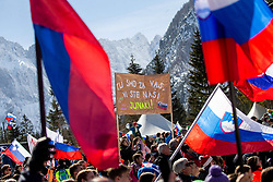 Supporters of Slovenia during the Trial Round of the Ski Flying Hill Individual Competition at Day 1 of FIS Ski Jumping World Cup Final 2019, on March 21, 2019 in Planica, Slovenia. Photo by Vid Ponikvar / Sportida