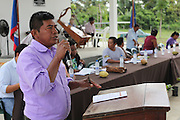Justino Peck, 49, Mopan Mayan cacao grower from San Jose, Toledo, speaks during the Annual General Meeting. Mr. Peck served as TCGA chairman from 1992 to 1997, once again from 2003 to 2010, and is currently the TCGA's liaison officer. Toledo Cacao Growers' Association (TCGA), Julian Cho Technical High School, Mile 14 Southern Highway, Toledo, Belize. January 26, 2013.