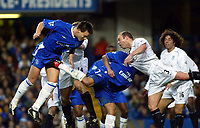 Photo. Chris Ratcliffe, Digitalsport<br /> Chelsea v Bolton. FA Premiership. 13/12/2003<br /> John Terry heads goalwards for Crespo to tap home