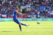 Cardiff City midfielder Ryan Giles (26) crosses into the penalty box during the EFL Sky Bet Championship match between Cardiff City and Bristol City at the Cardiff City Stadium, Cardiff, Wales on 28 August 2021.