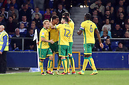 GOAL/CELE  :  Josh Murphy of Norwich City(2l) celebrates with his teammates after scoring his teams 2nd goal. EFL Cup, 3rd round match, Everton v Norwich city at Goodison Park in Liverpool, Merseyside on Tuesday 20th September 2016.<br /> pic by Chris Stading, Andrew Orchard sports photography.