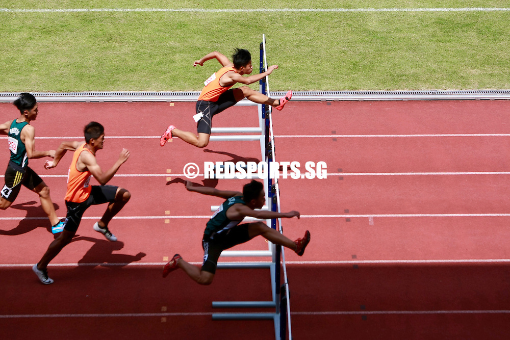 Bishan Stadium, Tuesday, April 19, 2016 — Marcell Tan of Singapore Sports School (SSP) retained his B Division Boys' 110 metres hurdles gold at the 57th National Schools Track and Field Championships, clocking a blistering 14.08 seconds in the final.