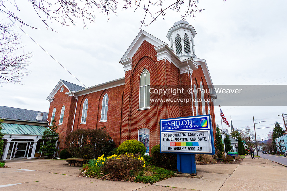 """The sign in front of the Shiloh United Church of Christ in Danville, Pennsylvania reads, """"be encouraged, confident, kind, supportive and safe."""""""