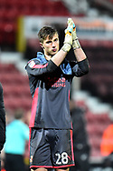 Stuart Moore (28) of Swindon Town applauds, claps the fans at full time during the EFL Sky Bet League 2 match between Swindon Town and Yeovil Town at the County Ground, Swindon, England on 10 April 2018. Picture by Graham Hunt.