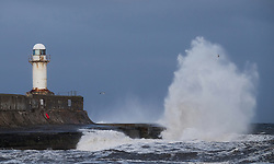 © Licensed to London News Pictures. <br /> 01/02/2015. <br /> <br /> South Gare, Redcar, United Kingdom<br /> <br /> Large waves crash against the seawall at South Gare near Redcar in Teesside.<br /> <br /> Photo credit : Ian Forsyth/LNP