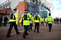 17th September 2017 - Premier League - Manchester United v Everton - Police officers patrol the area outside Old Trafford - Photo: Simon Stacpoole / Offside.