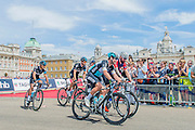 Mark Cavendish and Bradley Wiggins chat as they start together in Horse Guards Parade - Prudential RideLondon a festival of cycling, with more than 95,000 cyclists, including some of the world's top professionals, participating in five separate events over the weekend of 1-2 August.
