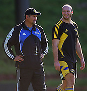 Hurricanes coach Colin Cooper and Scott Waldrom.<br /> Super 14 - Hurricanes training session, at Rugby League Park, Wellington. Wednesday, 21 May 2008. Photo: Dave Lintott/PHOTOSPORT