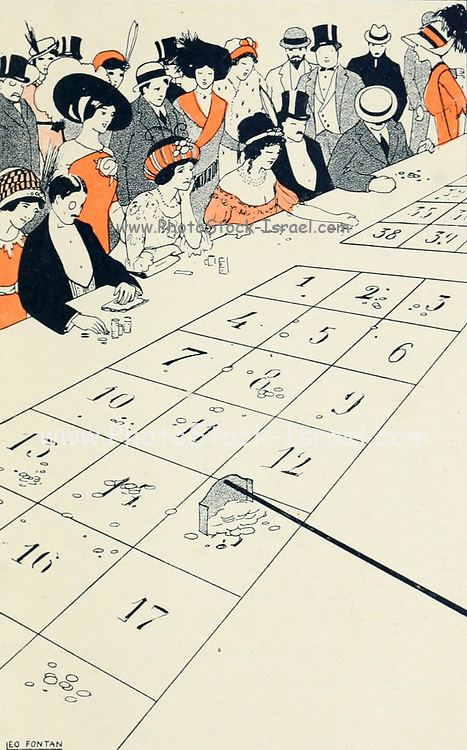 Illustration a roulette table at a casino at Cote d'Azur from Les ilots d'amour [The Islands of Love] by Sonolet, Louis, 1874-1928 Published in Paris in 1911