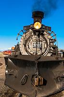 Steam locomotive, Cumbres & Toltec Scenic Railroad train station at Antonito, Colorado USA.