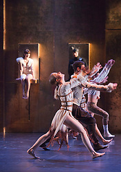 © Licensed to London News Pictures. 10/05/2012. London, England. Ensemble dancing with Virginie Caussin as Snow White and Sergi Amoros Aparicio at back. Ballet Preljocaj perform Snow White at Sadler's Wells Theatre, London, 10-12 May 2012. Angelin Preljocaj's award-winning re-imagining of the Brothers Grimm fairytale with costumes by Jean Paul Gaultier. Photo credit: Bettina Strenske/LNP