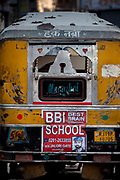 Advert for Best Brain School on a Tuk Tuk, 21st February 2018 in Jodhpur, Rajasthan, India.Popularly known as the Blue City, Jodhpur is a city in the Thar Desert of the northwest Indian state of Rajasthan. Jodhpur is the Handicraft Hub of India.