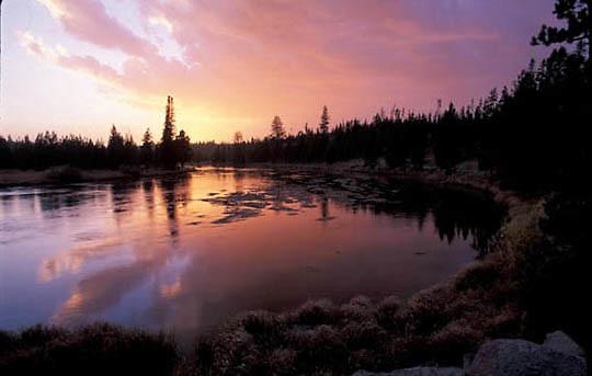 Idaho, Rivers, Henry's Fork of the Snake River. Sunset.