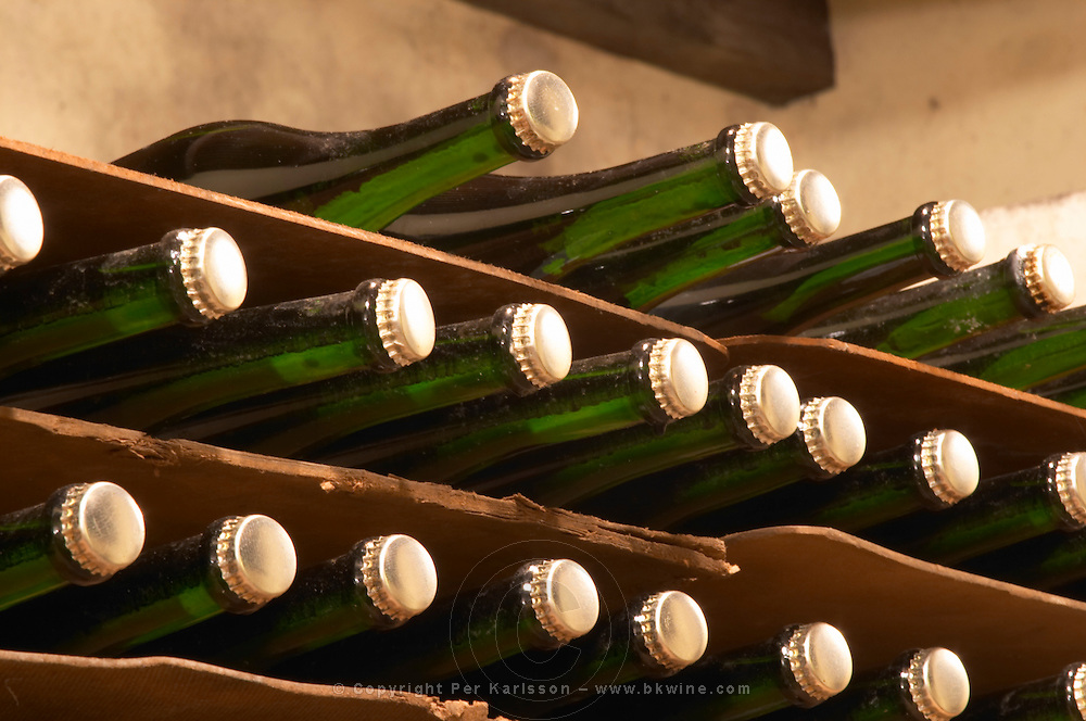Bottles of sparkling wine sur lattes getting bottle age with a beer style crown cap before disgorging Bodega Castillo Viejo Winery, Las Piedras, Canelones, Uruguay, South America